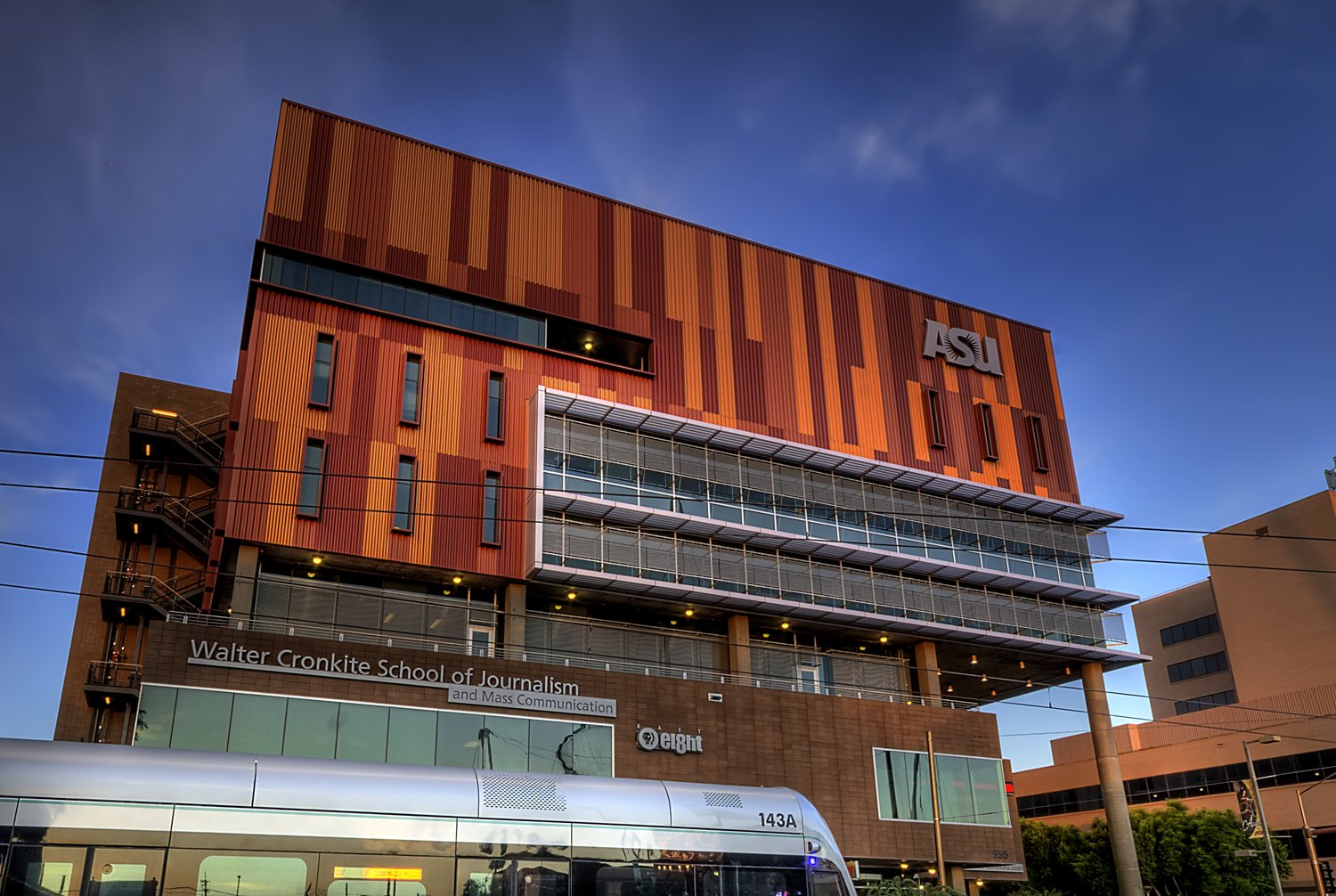 Modern photo of the Cronkite Building located in downtown Phoenix.