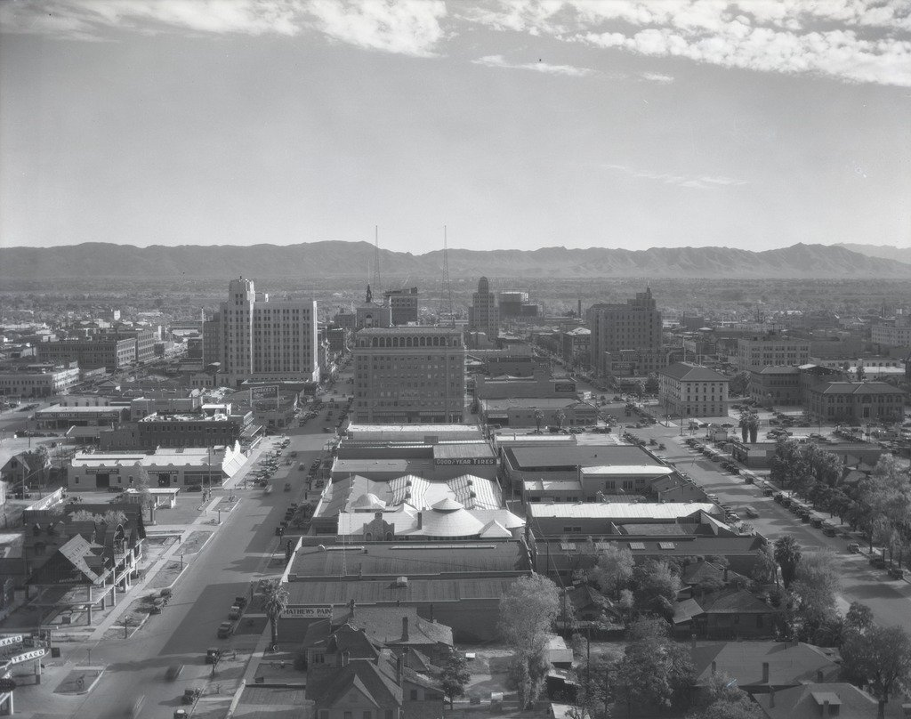 A view of Downtown Phoenix from the historic Westward Ho Hotel. The Cronkite building now sits on the left side of this photo.