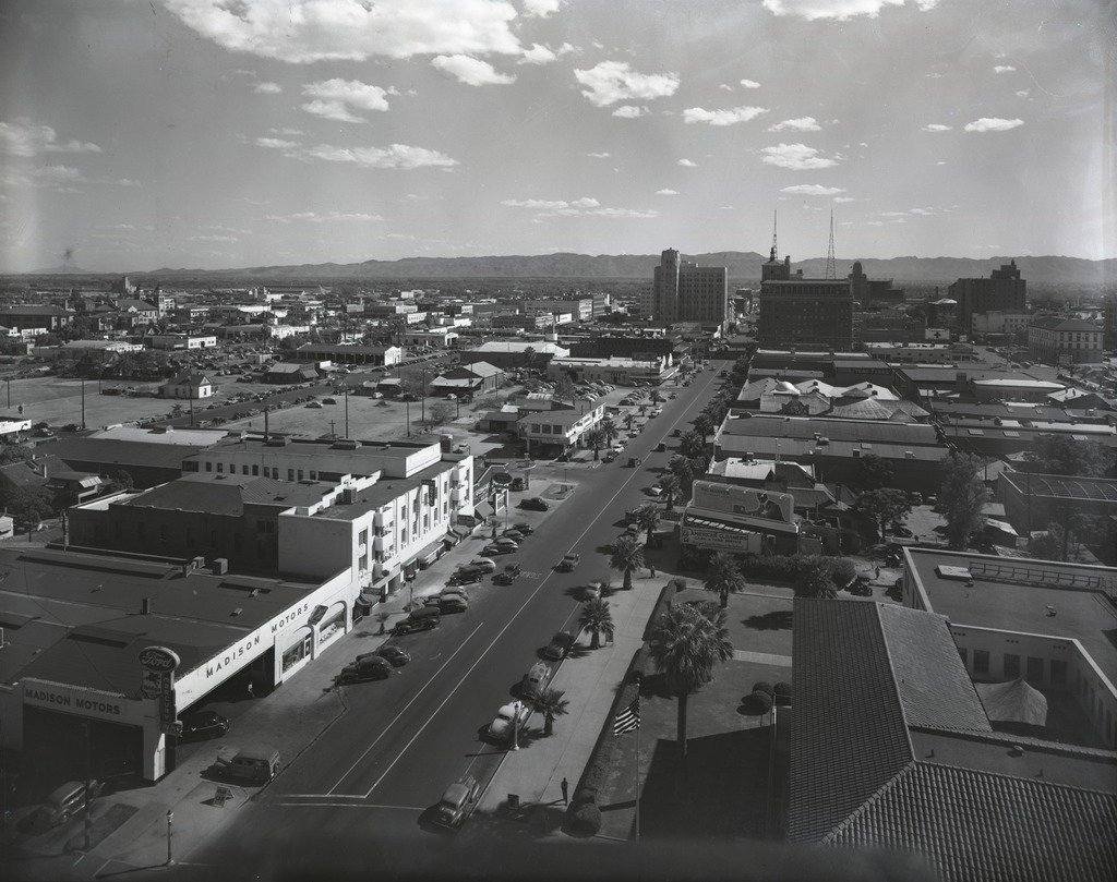 This photo taken in 1940 from the Westward Ho Hotel, shows the Madison Motors building/Ford, which is where the Cronkite building is now located.