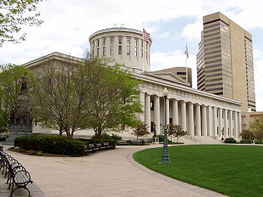 The Ohio State House followed a design submitted by a contest winner. Construction began in 1839 and was not completed until 1861.