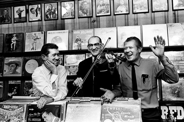 Roy Acuff, Pete Kirby, and Fiddlin' Sid Harkreader at the Ernest Tubb Record Shop, October 20, 1965