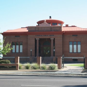 Front of Phoenix Carnegie Library, with its imposing red-brick 12 foot walls.
