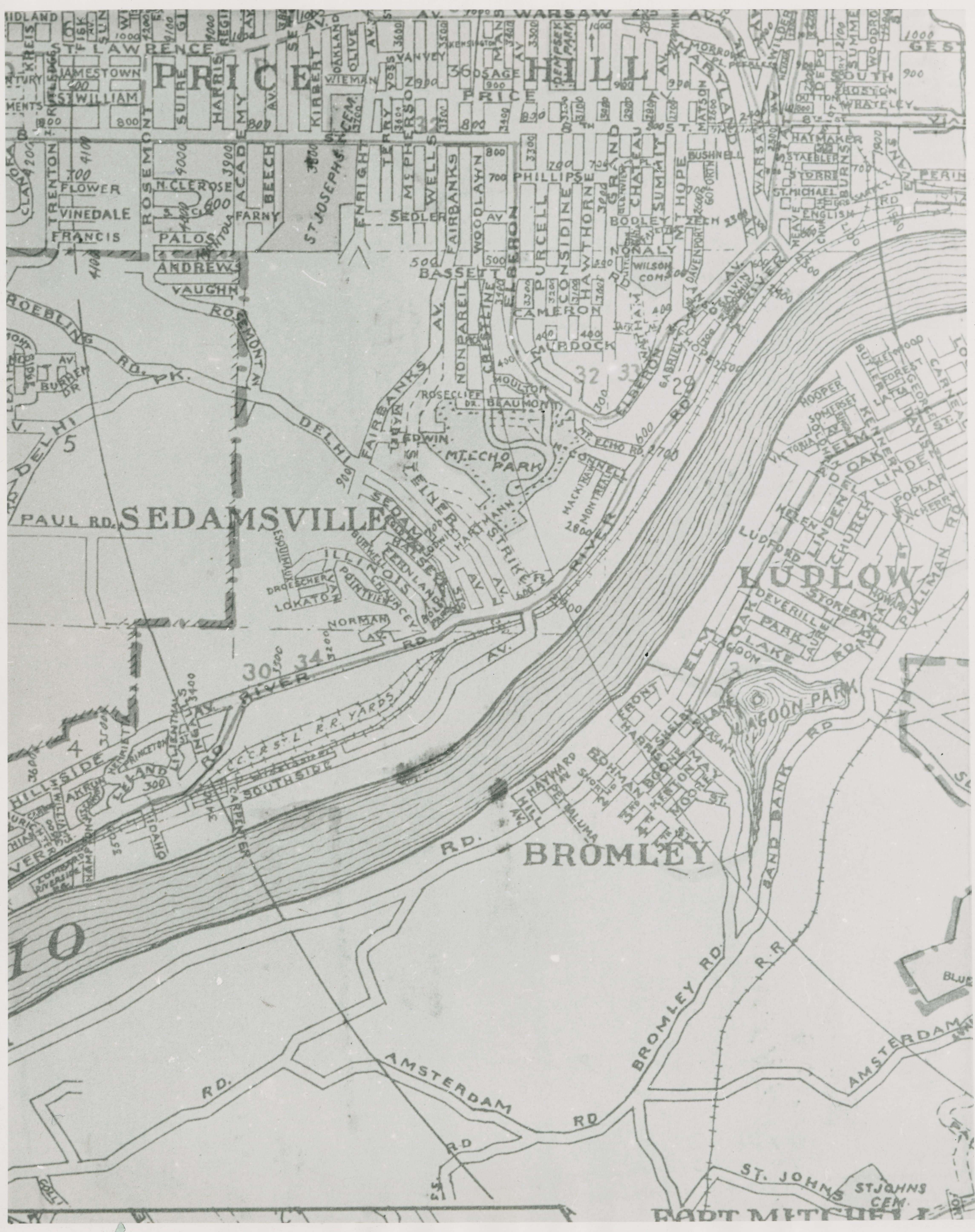 Map of Sedamsville Near Cincinnati courtesy of Ohio History Connection