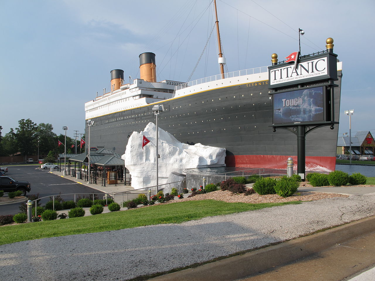 The Titanic Museum is a half-scale replica of the ship. There is also a replica of the iceberg that the ship struck.