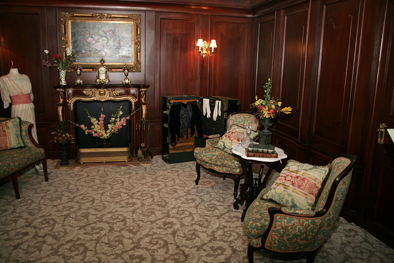First-class passengers enjoyed nice rooms like this recreated one.