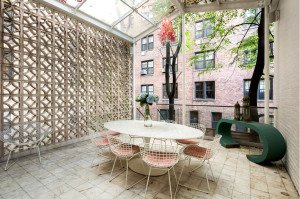 A private patio beneath a skylight.