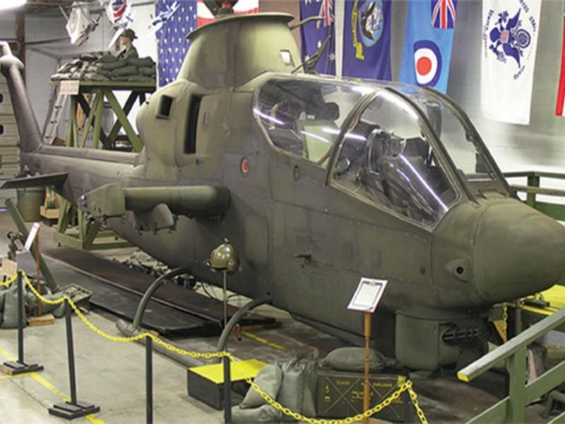 Air & Military Museum AH1-S Cobra Helicopter on display.