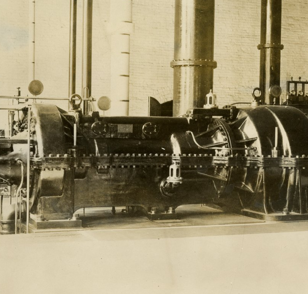 """A Photo of the Famous Turbine """"Mary Ann"""" circa 1900, Sourced from UConn Archives"""