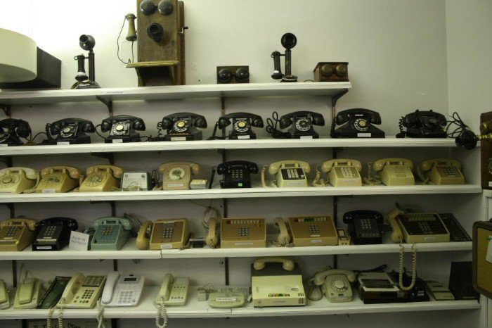 Five rows of different styled telephones.