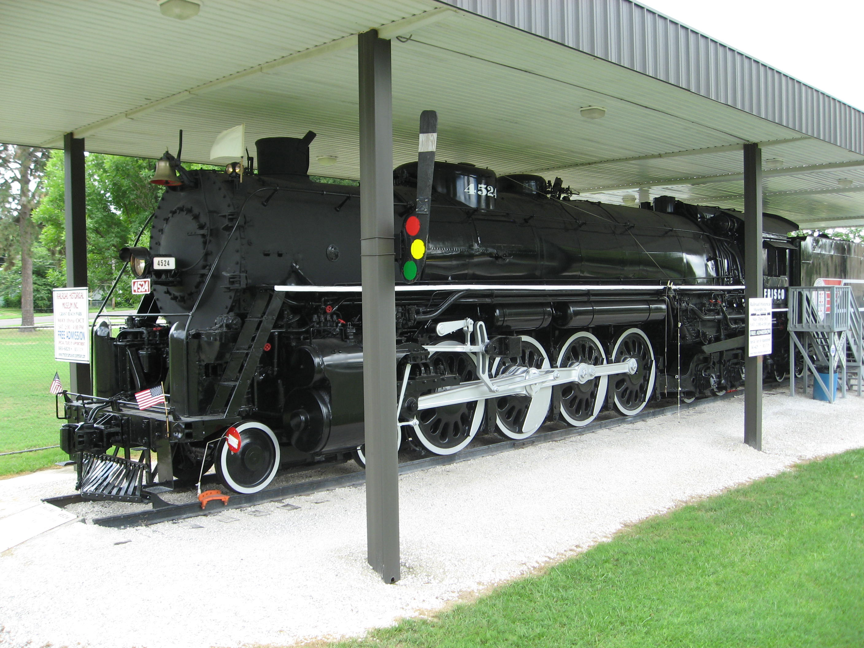 The St. Louis San-Francisco Locomotive No.4524 is the first one of the four train cars