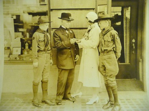 Although the first observance occurred in West Virginia, the holiday came into existence largely by the efforts of Spokane's Sonora Dodd, pictured here with Boy Scouts and a Civil War veteran.