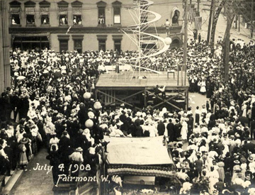 This photo shows the large crowd that gathered for the first observance of a special day for fathers in Fairmont on July 5, 1908.
