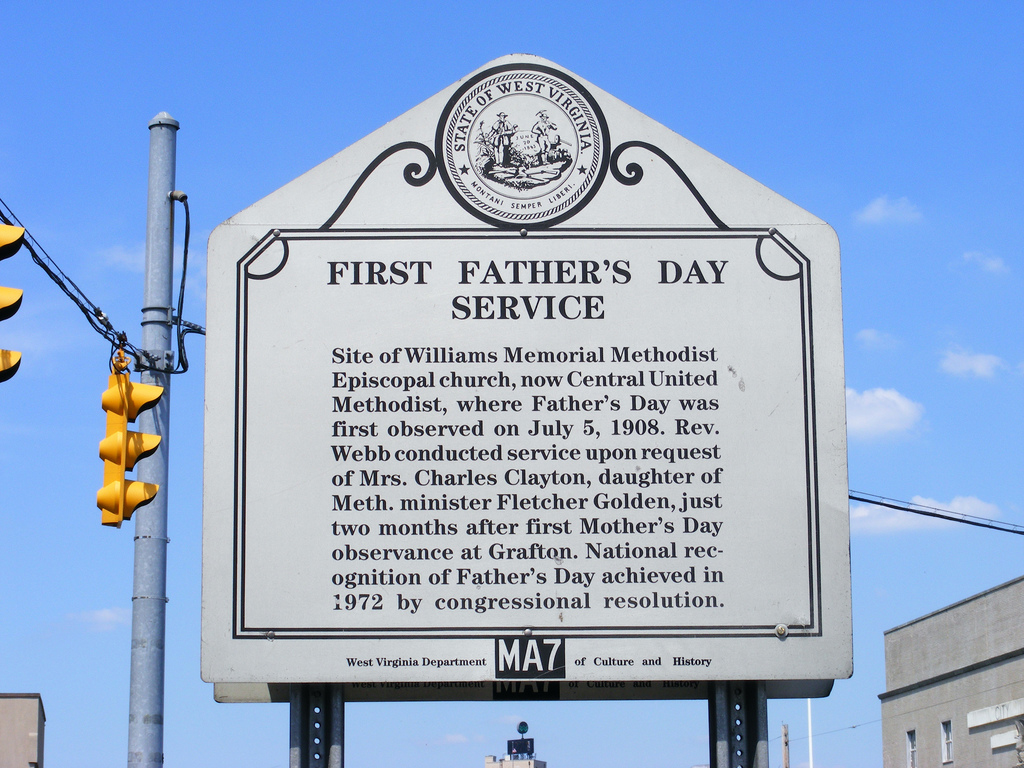 This marker from the WV Department of History and Culture was dedicated in 1985 and commemorates the first father's day service in the United States.