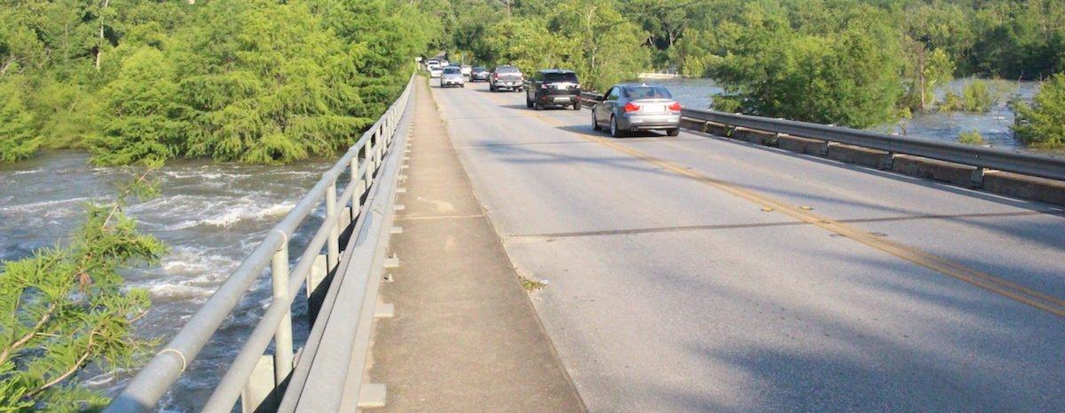 13,000 cars pass through the single lane, two way bridge everyday.