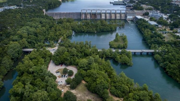 Aerial shot of Red Bud Isle and the bridge leading to it.
