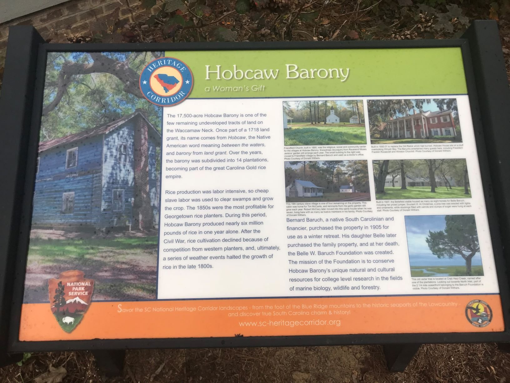 A sign details the environmental impact that Hobcaw Barony has on the surrounding areas.