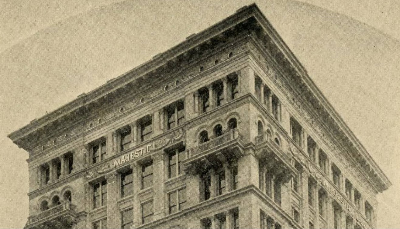 Detail of upper stories of Majestic Building from ca. 1896-1910s photograph