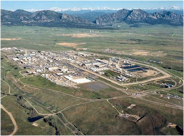 Aerial View of Rocky Flats in June 1995. Rocky Flats, the former weapons manufacturing plant northwest of Denver, as it appeared prior to closure and remediation.
