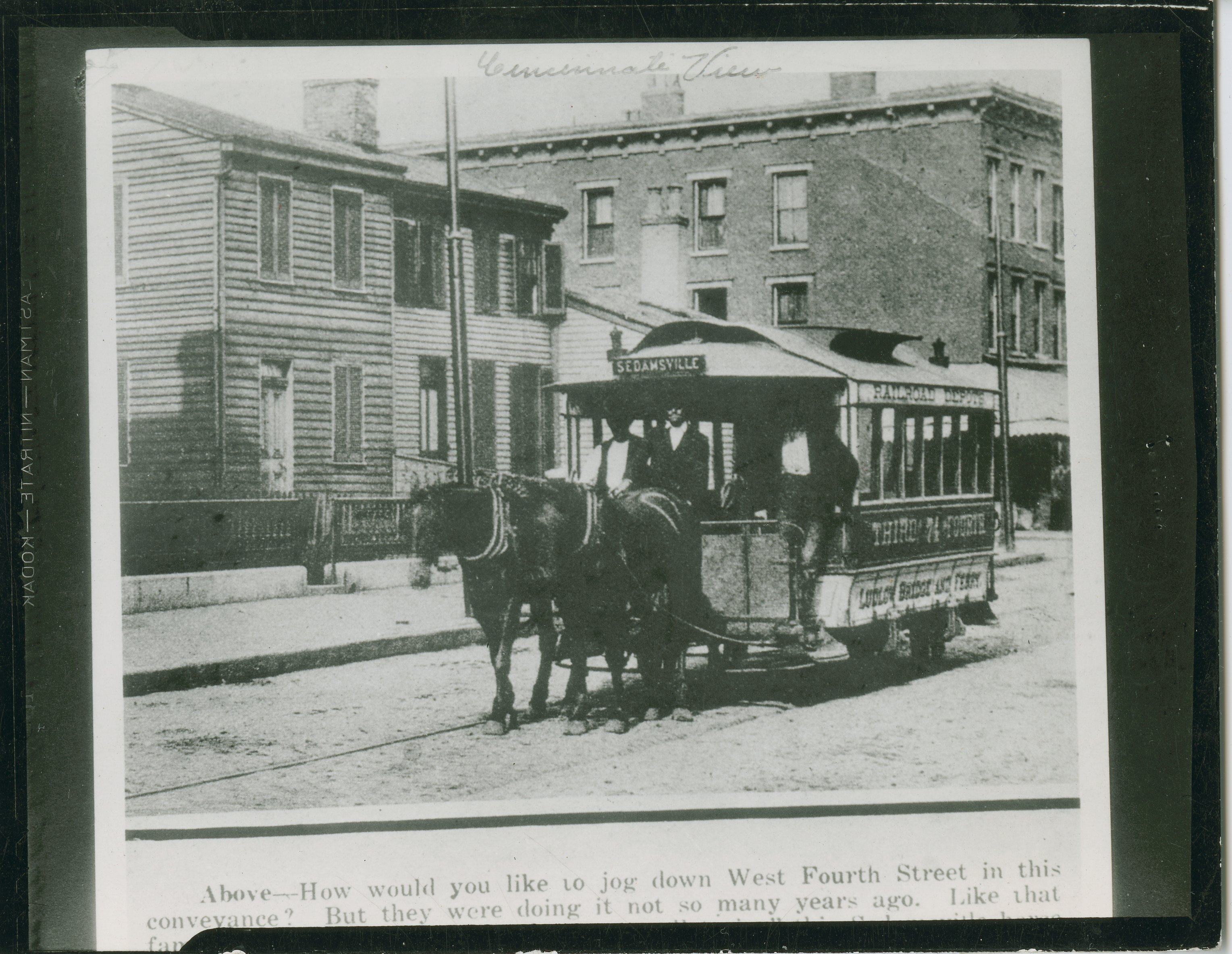 Horse Drawn Street Car in Cincinnati, Ohio. Photo courtesy of The Ohio Memory Project, Ohio History Connection. 