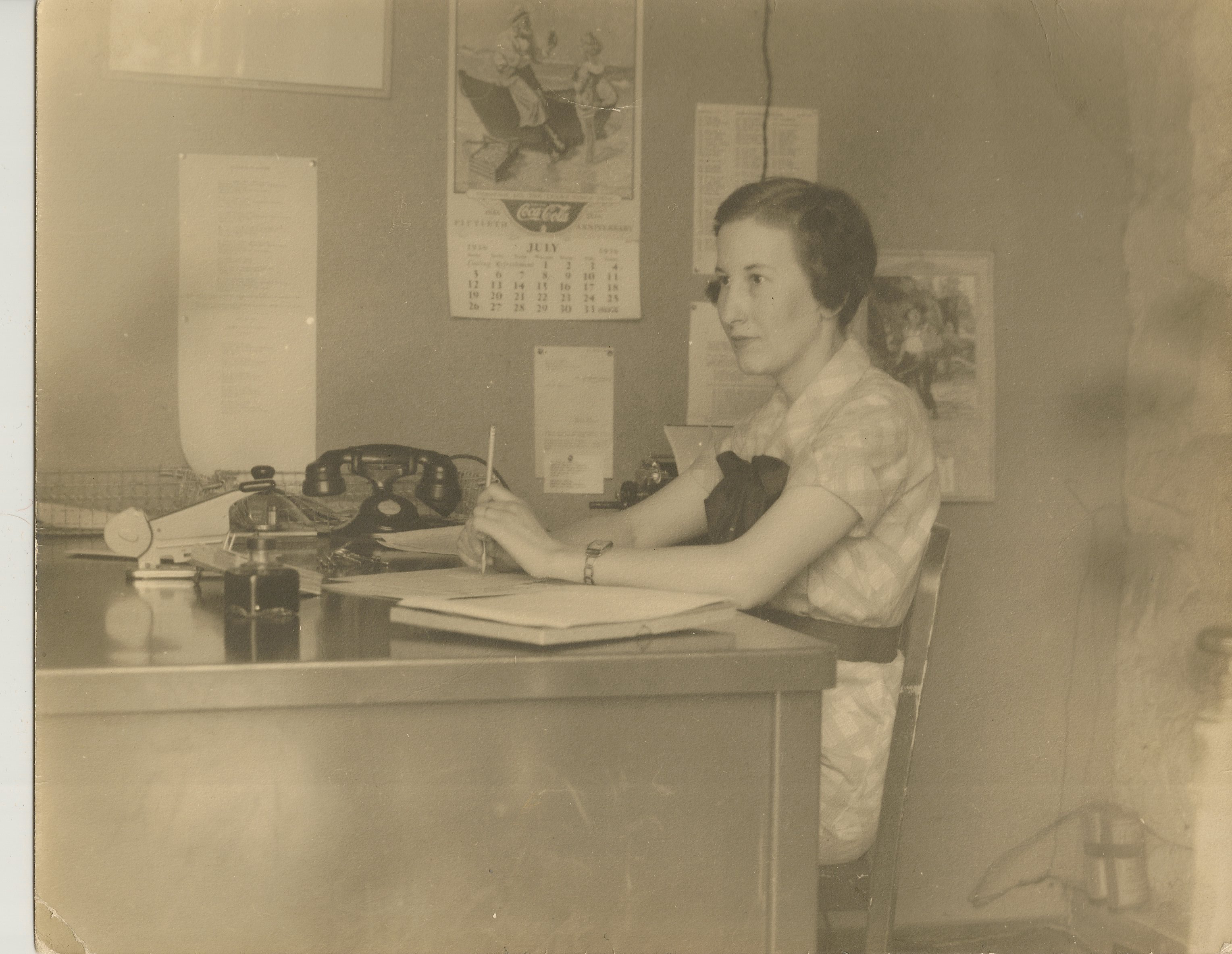 Mildred Robey at work in Admin in the late 1930s