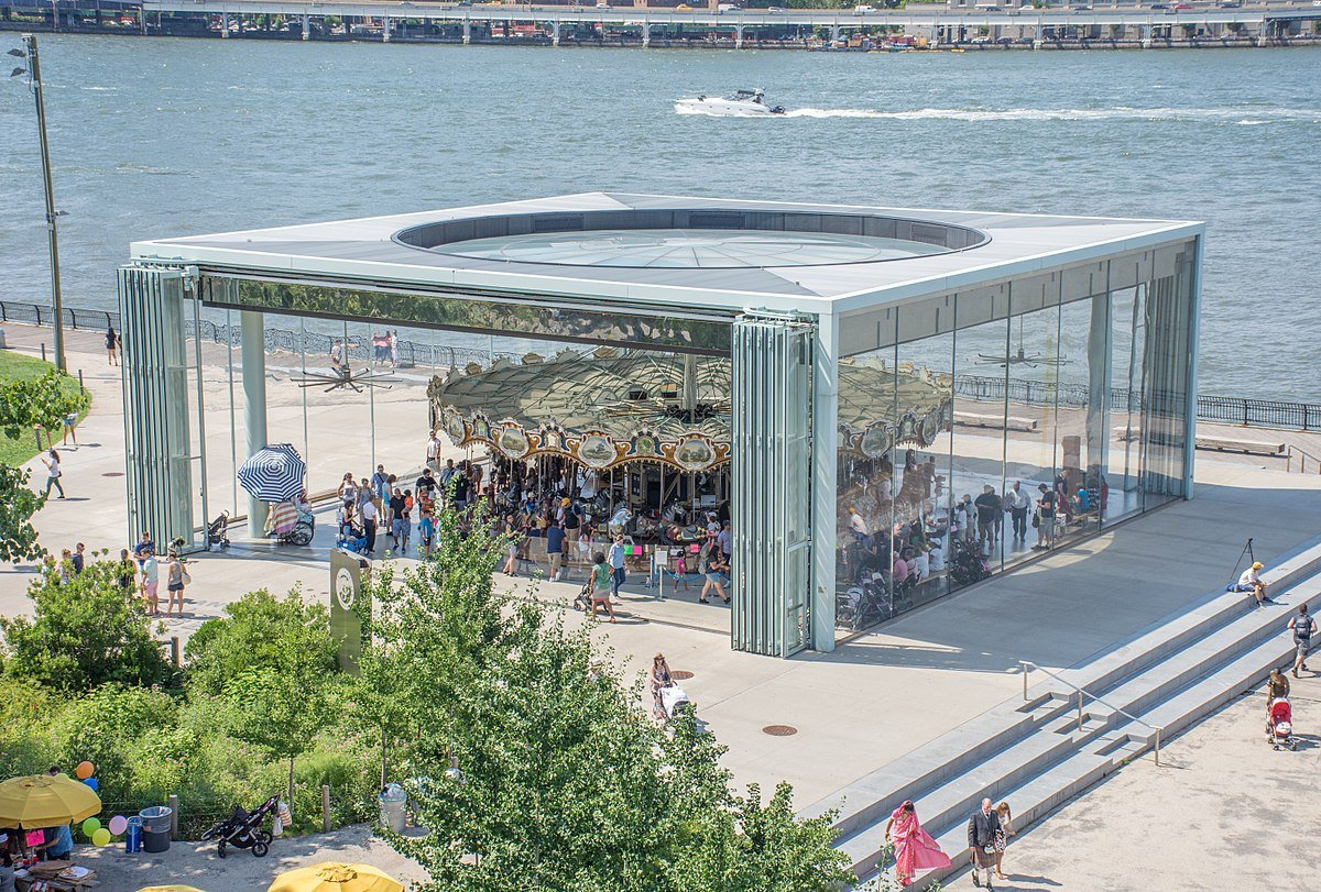 The Idora Park Merry-Go-Round, built in 1922 by the Philadelphia Toboggan Company, was restored and relocated to Brooklyn Bridge Park. It is now called Jane's Carousel and is housed in a glass pavilion by architect Jean Nouvel.