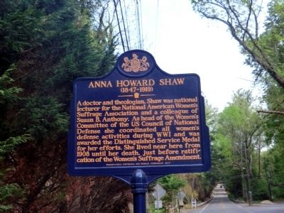 A picture of the Anna Howard Shaw Historical Marker located in Moylan, Pennsylvania; close to where Shaw passed away.