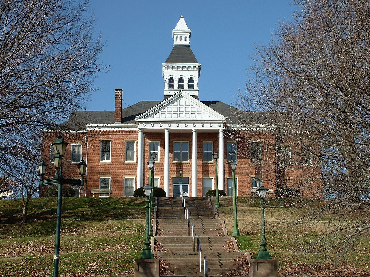 The Cape Girardeau Court of Common Pleas is situated prominently on a hill overlooking the Mississippi River. It was built in 1854 and has served as a courthouse ever since.
