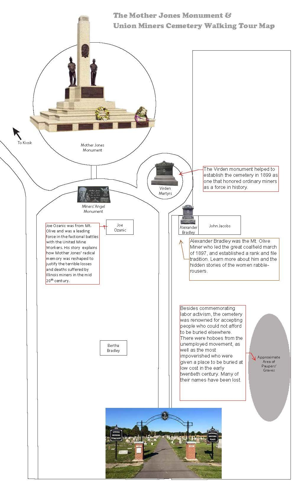 Overview: This map is also available at http://www.motherjonesmuseum.org/wp-content/uploads/2018/12/UnionMinerCemetery-12-10_Page_1.jpg, designed by Kate Klimut. A fuller tour will also be available there by January 2019