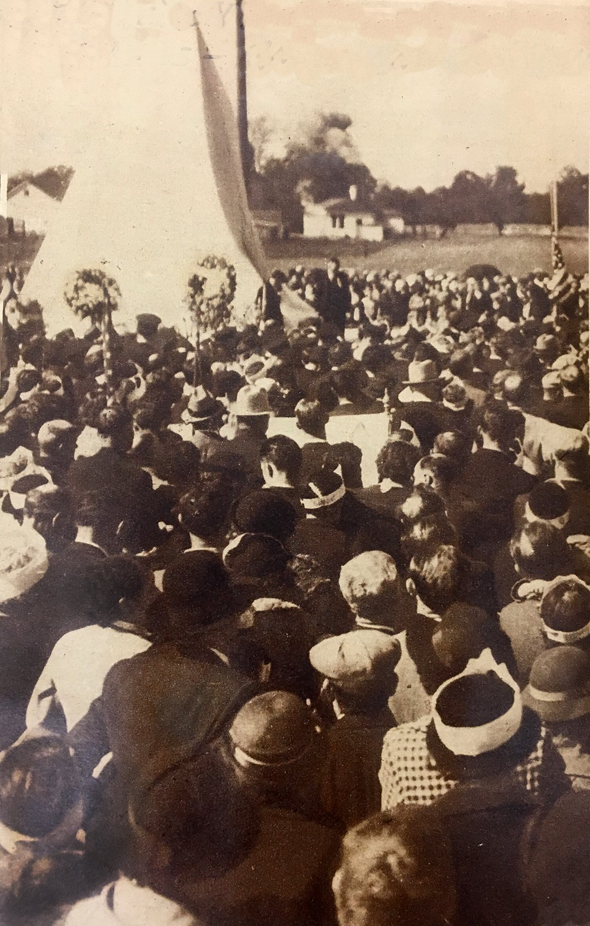 Monument dedication: Another image of the crowd anticipating the unveiling of the Mother Jones Monument October 1936.