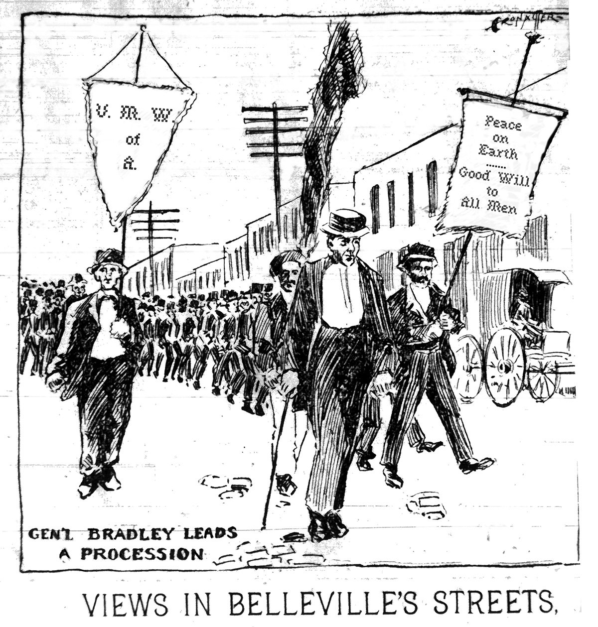 Alexander Bradley.was the Mt. Olive Miner who led the 1897 miners march to shut down the mines, a strike that brought about the 8 hour day. It was a catalyst for shutting down all the coal mines in the state. Bradley had entered the mines as