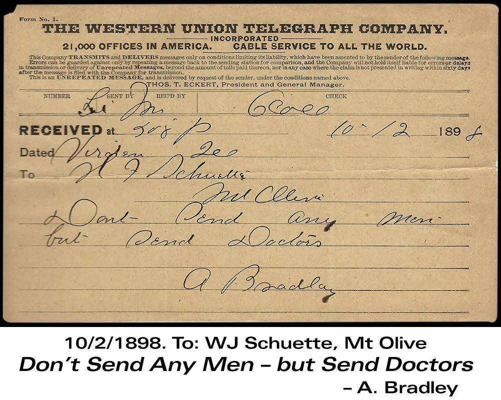 This telegram was sent by Alexander Bradley from Virden in the midst of the battle in 1898.