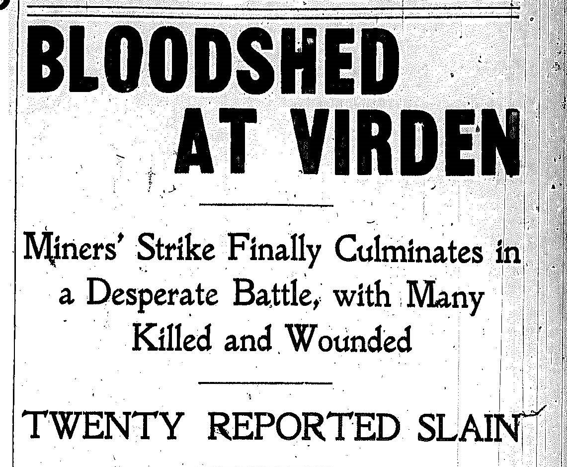 The October 12, 1898 headline of a Chicago paper. As it turned out, 13 died; 8 of them were miners, and the rest were guards. This was a battle against paid company mercenaries and unionists. Mt. Olive volunteers played a central role