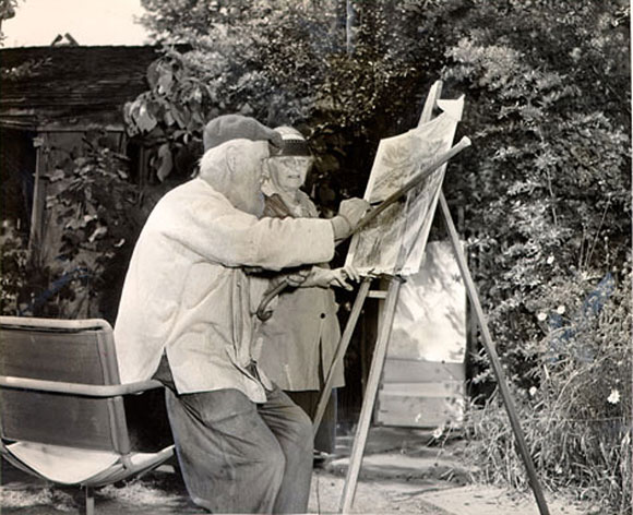 "Bernard and Annie Maybeck, painting together ""en plein air"" outside of their home in Berkeley, California"