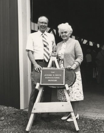 This photo, from the Pennsylvania State University Archives, shows Dr. Jerome K. Pasto with his wife, Frances Pasto. Dr. Pasto's personal collection of antique agricultural equipment made the birth of the museum possible.