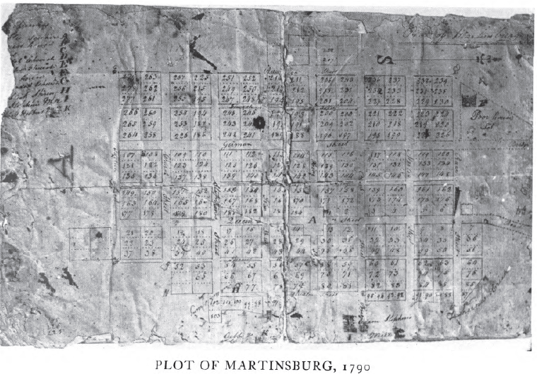1790 Plot map of Martinsburg, showing the Public Square.