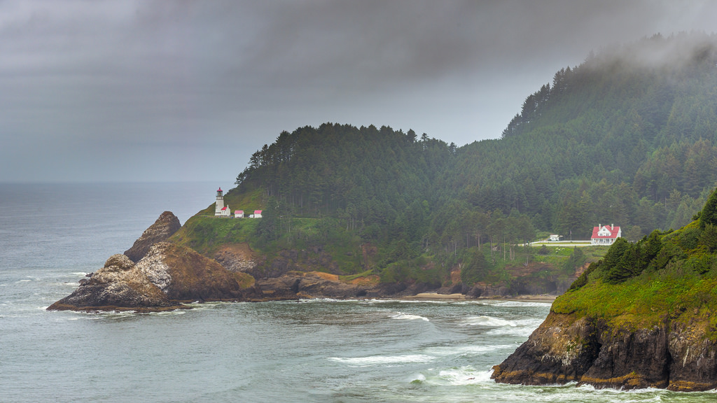 It is foggy days like this at Heceta Head that still make lighthouses necessary for sea travel.