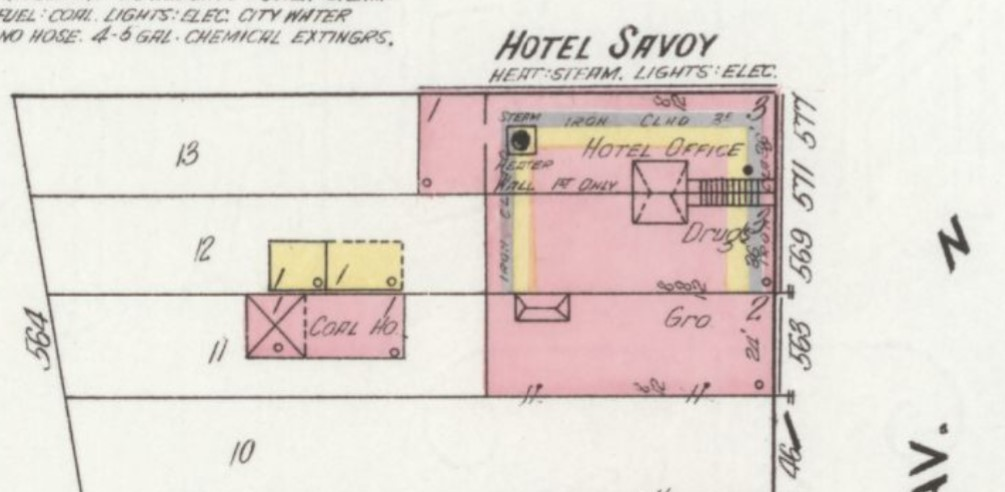 Hotel Savoy and two other businesses in General Palmer Hotel building in 1910 (Sanborn Map Company p.8)