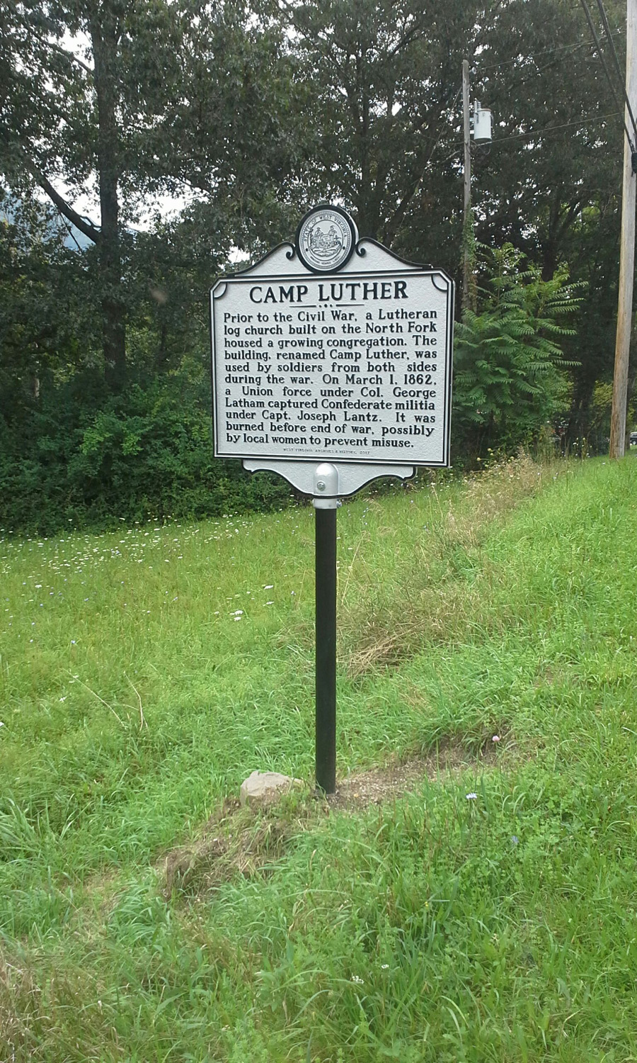 Camp Luther State Historic Marker