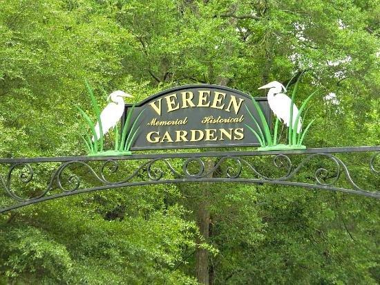 A sign marks the entrance to Vereen Memorial Historical Gardens.