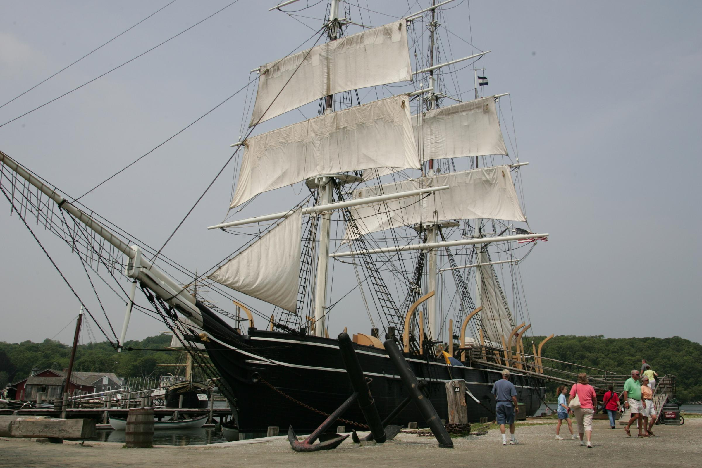 The Charles W. Morgan docked at Mystic Seaport after its 21st century restoration.