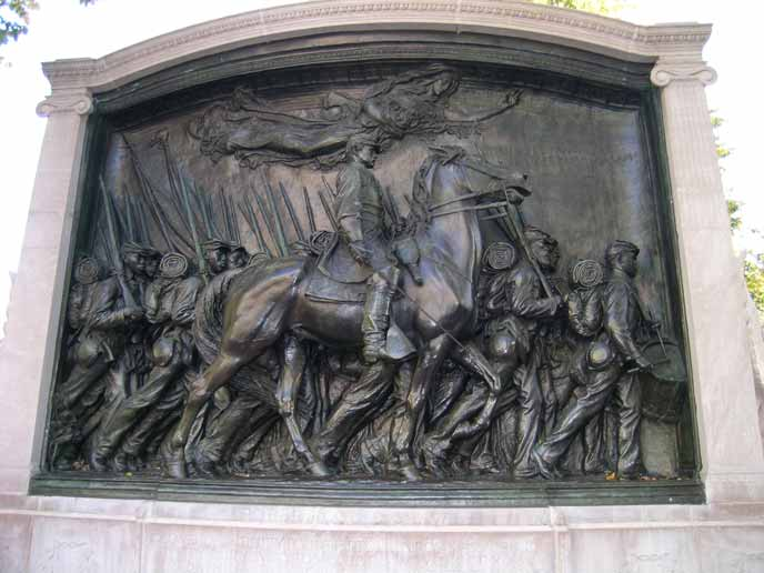 The memorial is a bronze relief sculpture by Augustus Saint-Gaudens and portrays the 54th Regiment Massachusetts Volunteer Infantry marching down Beacon Street on May 28, 1863.