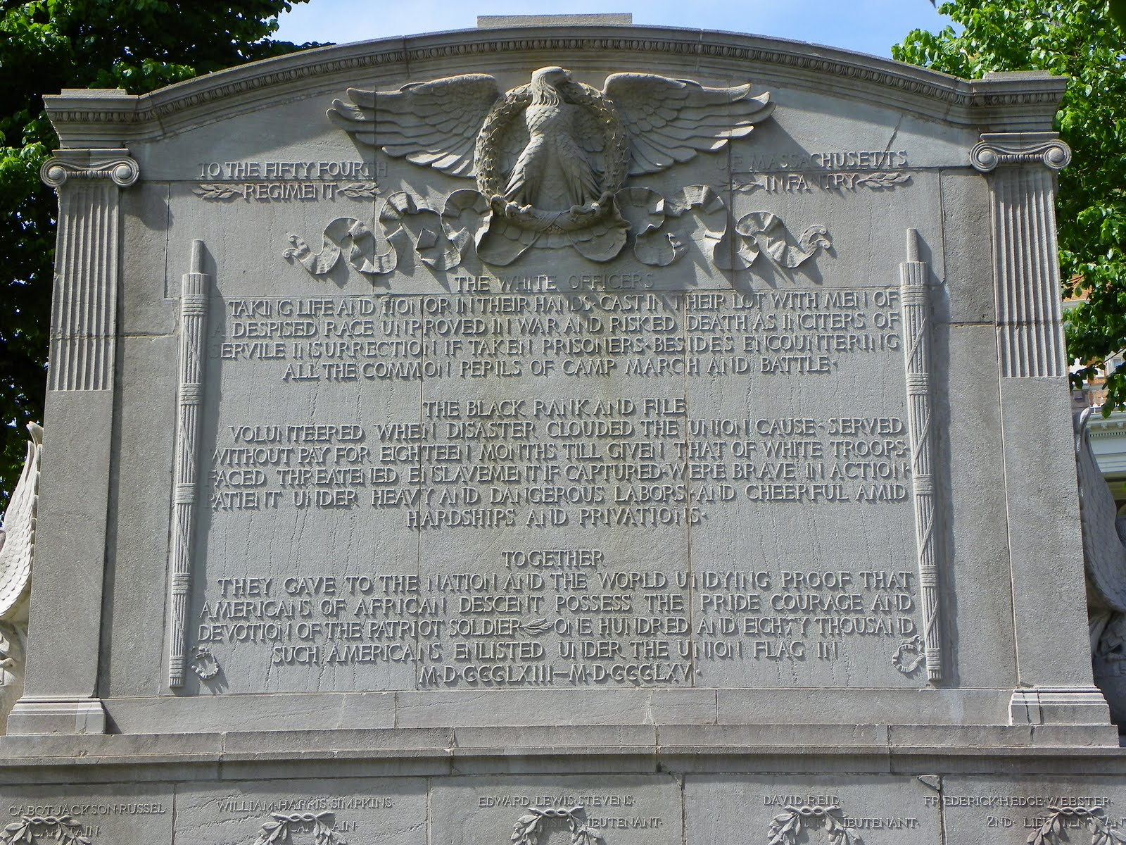 The back of the Robert Gould Shaw Memorial includes the name of the men who died at the Battle of Fort Wagner.