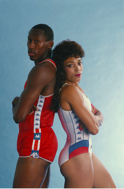 One of the donations for Florence Griffith Joyner Elementary School came from Florence's husband and Olympic athlete Al Joyner. Courtesy of Hulton Archive, Allsport USA Edit and Rescans DI capture the couple in preparation for 1988 Seoul Olympics.
