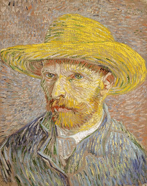 "Vincent van Gogh, ""Self-Portrait with Straw Hat."" 1887-1888."