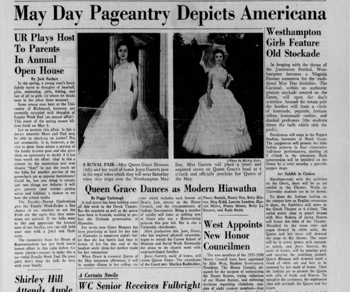 Pocahontas Themed May Day Performance: Collegian Article from 1957
