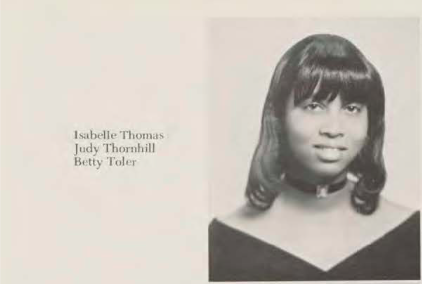 Yearbook photo of Isabelle Thomas as a senior from 1972