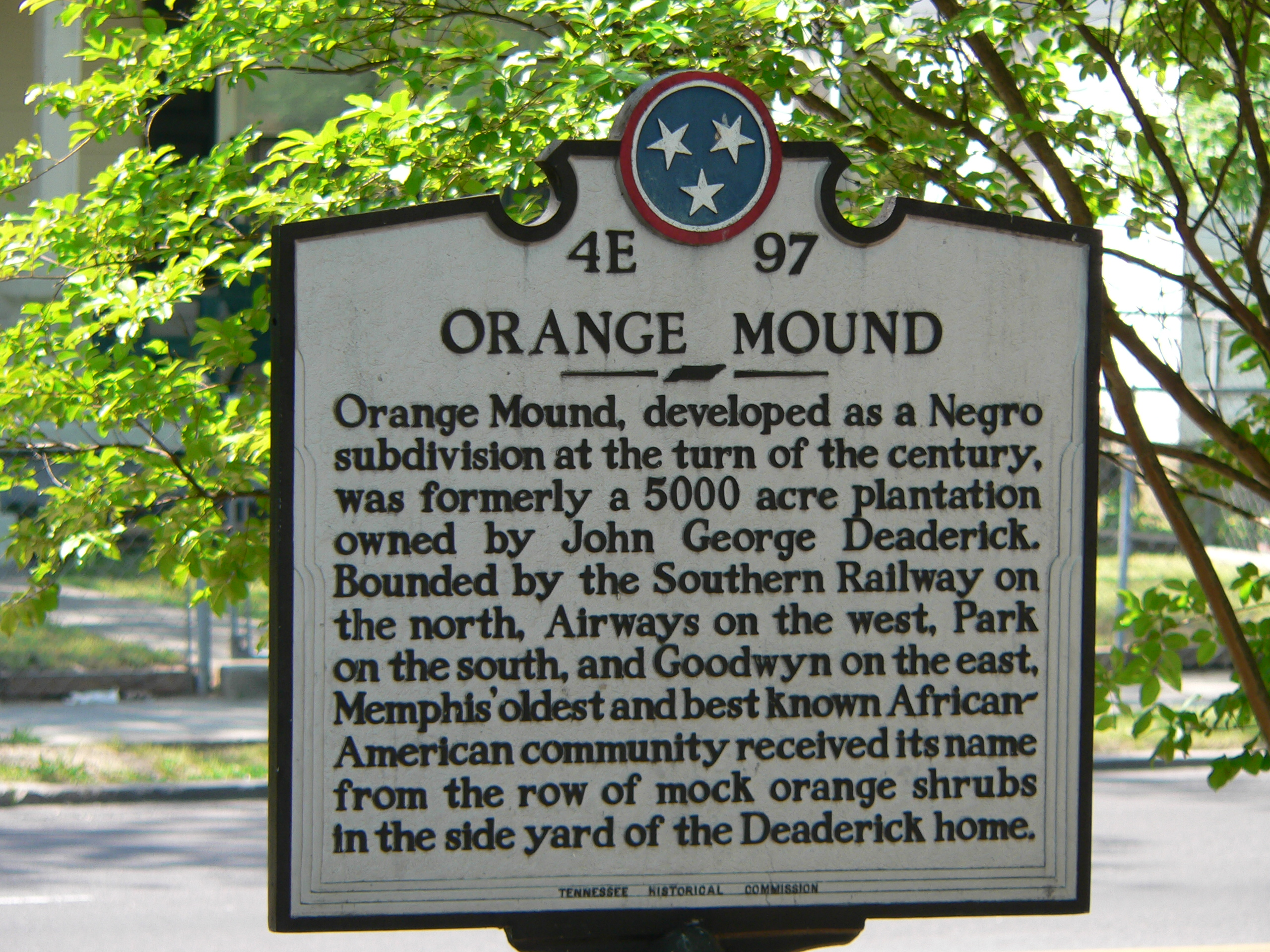 This is the original marker commemorating Orange Mound.