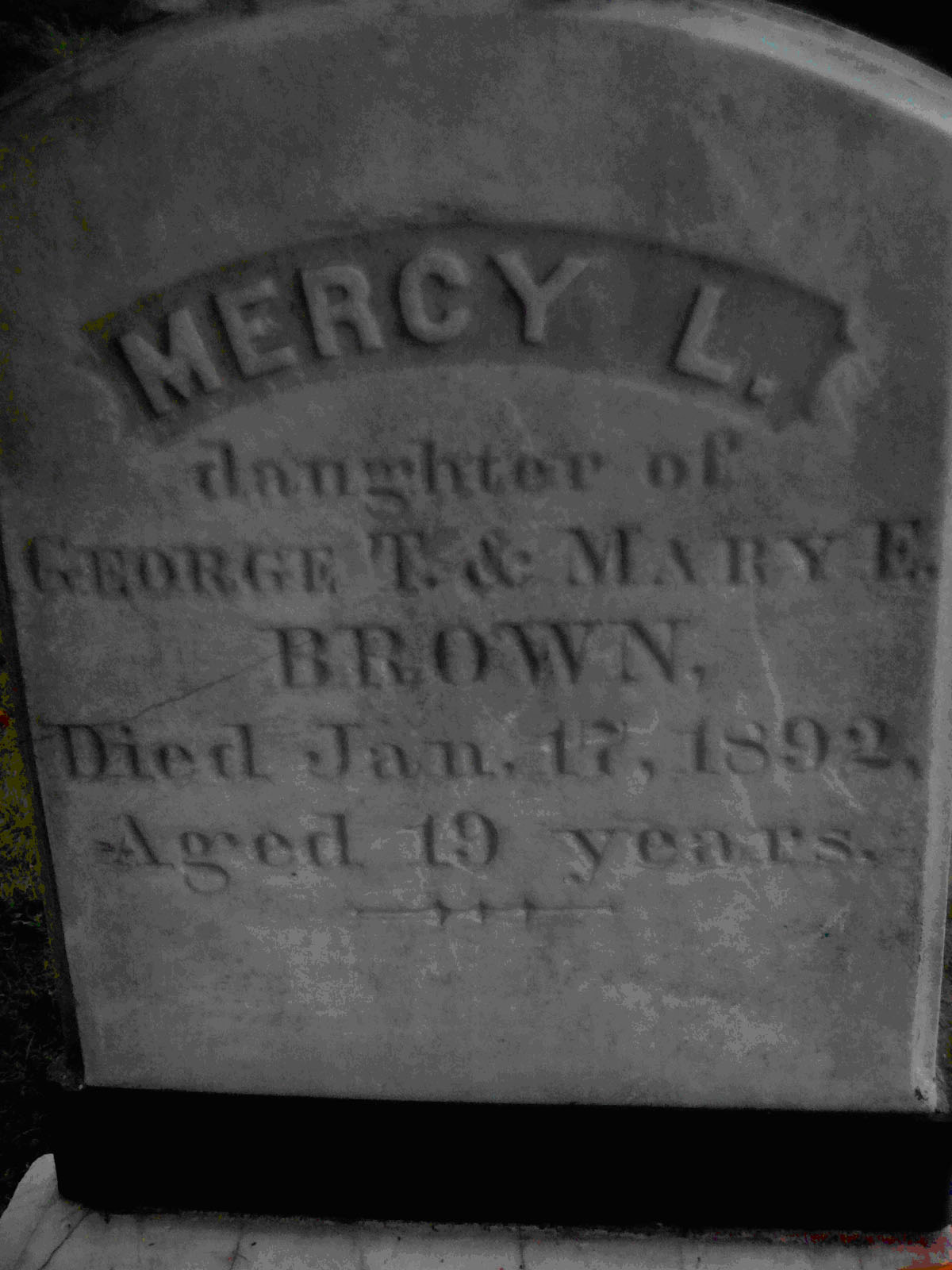 Mercy Lena Brown Headstone