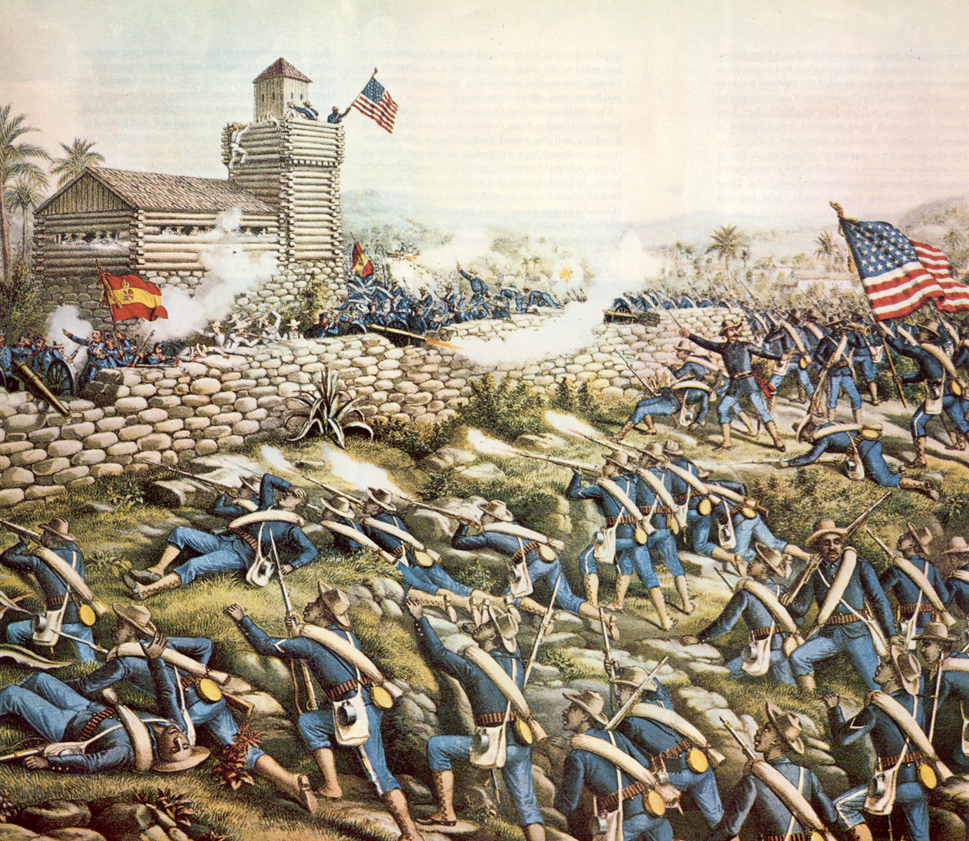 The Spanish-American War was a relatively brief affair, lasting from April 1898 to August 1898. It had long lasting implications for the United States, giving it possession of Puerto Rico, Guam, and the Philippines. Image obtained from Wikimedia.