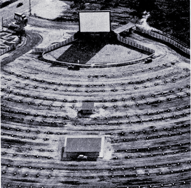 Aerial view of the drive-in, 1952